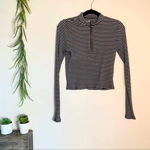 Hollister Long Sleeve Striped Crop Top w/ Zipper
